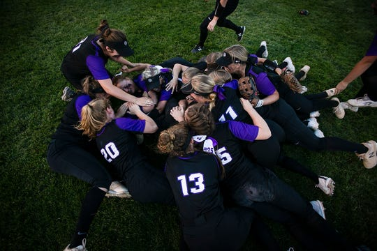 Brownsburg softball team rushes the field in excitement after winning the IHSAA Regional Softball Championships at Brownsburg High School, Brownsburg, IN. on Tuesday, May 28, 2019, defeating Decatur Central, 1-0.