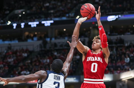 Romeo Langford played with a brace on his thumb for most of his freshman season.