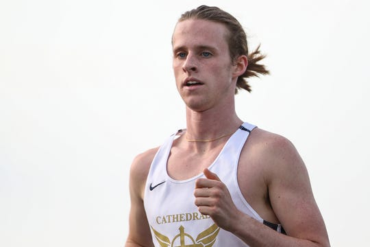 Cathedral senior Cole Hocker after finished the 1600 meter run in first place with a time of 4:13.09, at IHSAA boys track and field sectionals at North Central High School in Indianapolis on Friday, May 17, 2019.