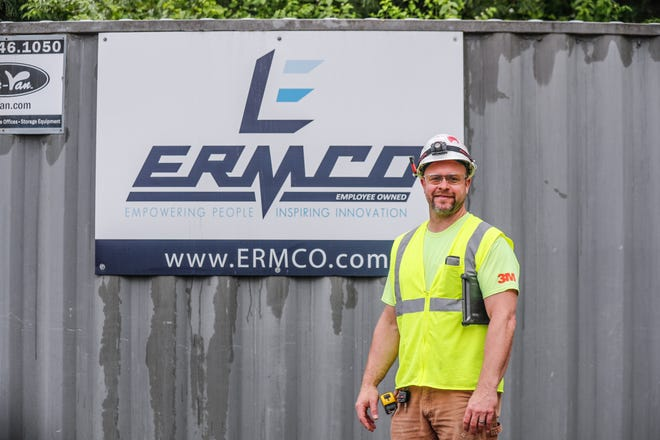 ERMCO General Foreman Ryan Fagg supervises work at an assisted-living facility under construction at 7001 Hoover Road, Indianapolis, on Thursday, May 9, 2019. ERMCO has been named one of the 2019 Top Workplaces in Central Indiana.
