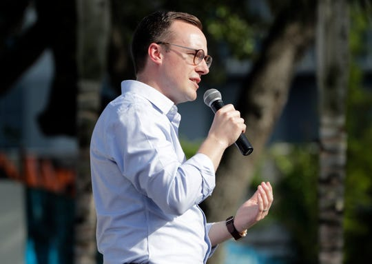 Chasten Buttigieg, the husband of Democratic presidential candidate Pete Buttigieg, the mayor of South Bend, speaks during a fundraiser at the Wynwood Walls on Monday, May 20, 2019, in Miami.