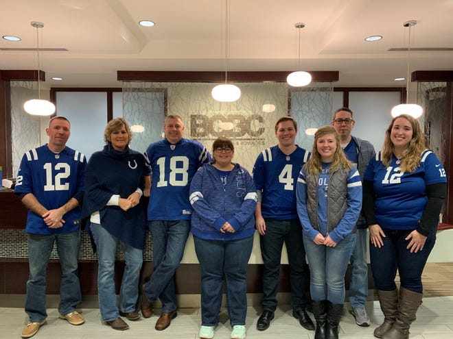 Employees at BGBC Partners, an Indianapolis-based accounting, tax services and advisory firm, show off their Indianapolis Colts team spirit during the playoffs. BGBC is one of Central Indiana's Top Workplaces for 2019.
