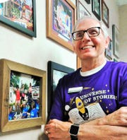 After nearly 48 years in banking, Keith Jones will retire soon from Hills Bank. This wall shows many of the creative floats he has helped mastermind for bank parade entries over the years.