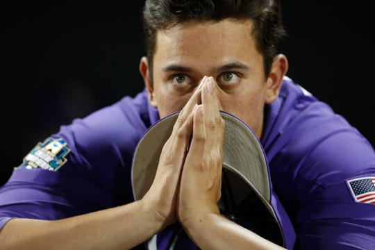 Jun 27, 2017; Omaha, NE, USA; LSU Tigers pitcher Todd Peterson (43) reacts after the game against the Florida Gators in game two of the championship series of the 2017 College World Series at TD Ameritrade Park Omaha. Mandatory Credit: Bruce Thorson-USA TODAY Sports