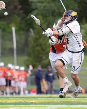 Reece Potter had three third-quarter goals, including the 200th of his career, in a 17-11 victory over Midland in the regional lacrosse championship game at Linden on Tuesday, May 28, 2019.