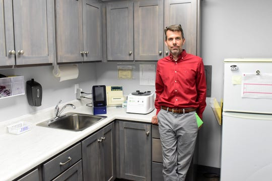 Chad Kaufman stands inside the lab of Shiloh Medical Services, which he opened this spring in Shenandoah.