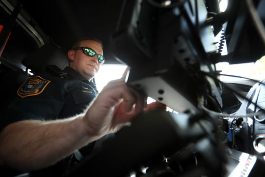 Germantown Police Department Senior Patrol Officer Blake Sternberger works the second shift 'city' beat, crossing districts on main thoroughfares, covering all of the municipality on Wednesday, May 22, 2019.