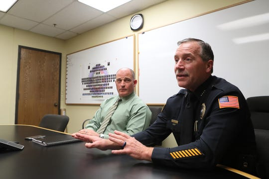 Captain Mike Fisher, left, and Deputy Chief Rodney Bright of the Germantown Police Department speak about the state of crime prevention in their city's districts from GPD headquarters on Wednesday, May 22, 2019.