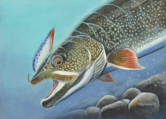 Ryan Rickaby's acrylic painting of a lake trout won the design contest for the 2019 Wisconsin Great Lakes Salmon and Trout Stamp.