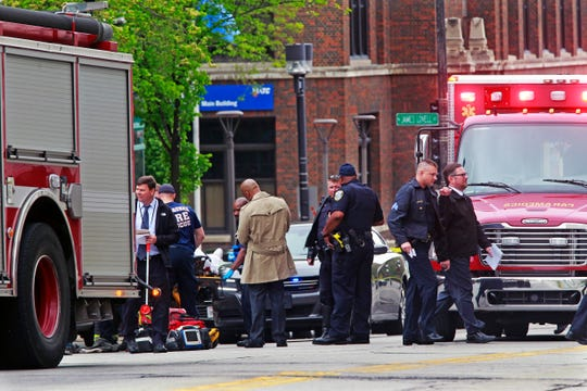 A man was shot near police headquarters and the Milwaukee Area Technical College is attended to outside the school at North 7th and West State Street in Milwaukee as police continue to investigate.