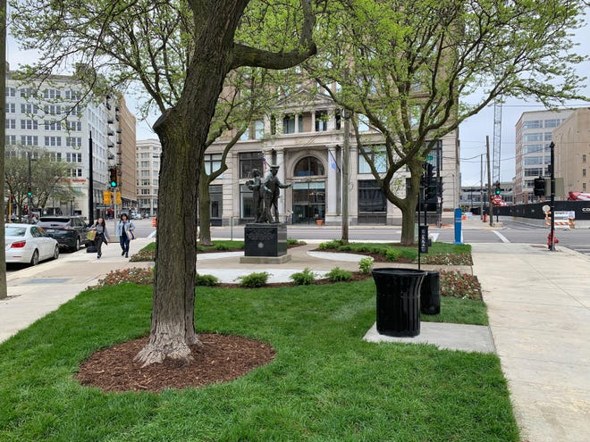 Between Plankinton Avenue and Wells and Second streets lies a traffic triangle that Milwaukee Downtown has transformed into a gathering place.