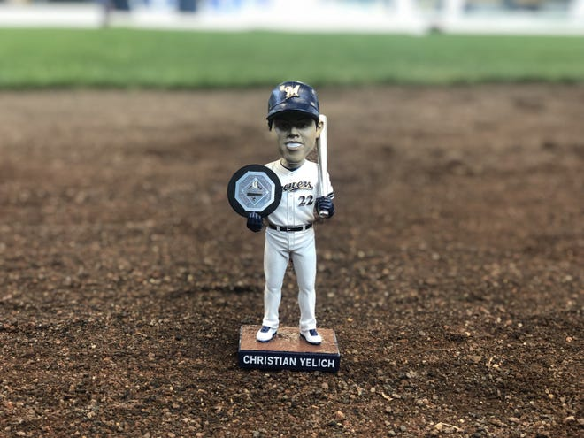 In 2019, the Brewers gave away this Christian Yelich bobblehead to commemorate his 2018 MVP season. In 2020, two more Yelich bobbles will be released to the masses, one acknowledging his 40 homers and another for his 30 stolen bases in 2019.
