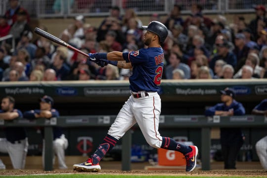 Twins rightfielder Eddie Rosario watches his two-run home run in the seventh inning.