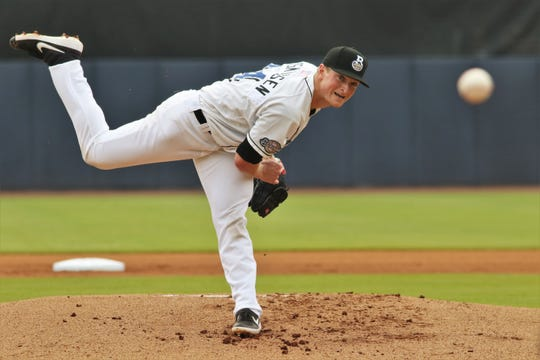 Milwaukee Brewers pitching prospect Drew Rasmussen underwent Tommy John surgery twice in about 18 months but already hit 100 mph on the radar gun in sprint training and has quickly moved up through the system to the Brewers Class AA affiliate, the Biloxi Shuckers.