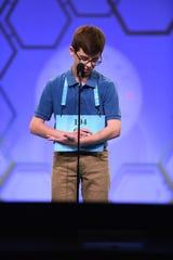 Cal Alexander, of Shreveport, spells during the Scripps National Spelling Bee on May 28, 2019.