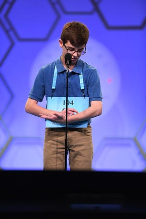 Cal Alexander, of Shreveport, spells during the Scripps National Spelling Bee on May 28, 2019.