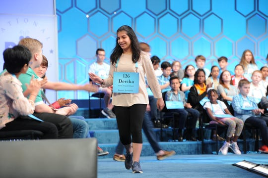 "Devika Dua of Ruston correctly spelled ""cultigen"" on Wednesday during Round 3 of Scripps National Spelling Bee."