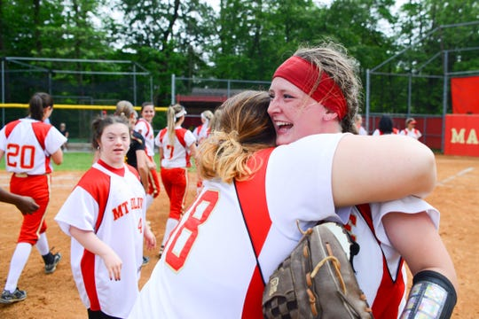 Mount Olive's Gianna Bencivengo, left, and Anna Callahan celebrate after defeating Bergen Tech, 7-0, for the North 1, Group 4 title on Wednesday, May 29, 2019, in Flanders.