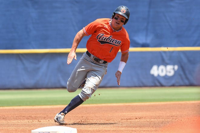Auburn's Judd Ward (1) rounds the bases against LSU during the SEC Tournament on Thursday, May 23, 2019, in Hoover, Ala.