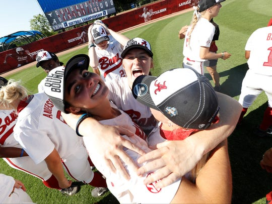 Alabama's softball team celebrates its World Series-clinching win over Texas .