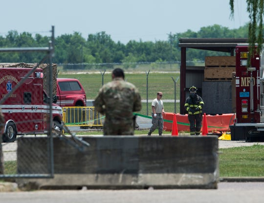 Emergency crews respond to a reported hydrazine leak at the Alabama Air National Guard the in Montgomery, Ala., on Wednesday, May 29, 2019.