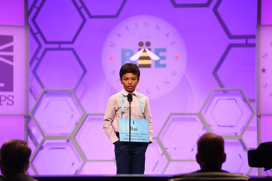 Forest Avenue Academic Magnet student Sai Lakkimsetti competes in the 2019 Scripps National Spelling Bee.
