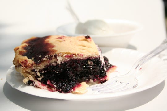 Blueberry pie was among the treats being served at a past ice cream social at the Church at Crossroads.