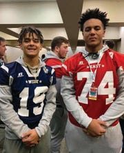 Fairview High football players Kam Harris-Lusk and Hiller Gray before they took the field in the 2018 Toyota East vs. West Tennessee All-Star Classic.