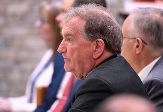 Sumner County District Attorney Ray Whitley attends the second hearing for Michael Cummins on May 29, 2019, in Gallatin, Tenn.