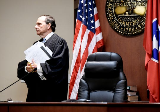 Judge Dee David Gay stands in court before the hearing Michael Cummins for probation violation at Sumner County General Sessions Wednesday, May 29, 2019, in Gallatin, Tenn.