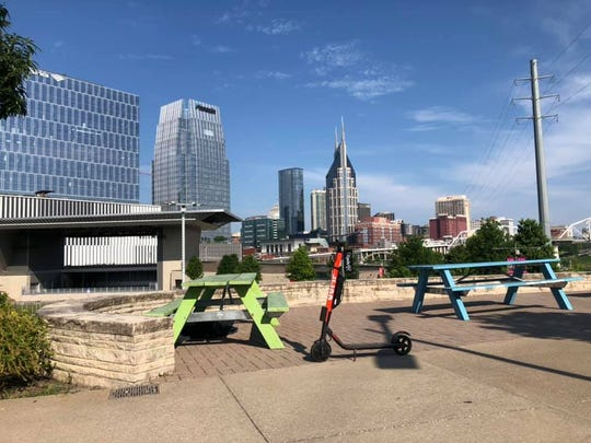 A JUMP scooter was left in the park behind Ascend Amphitheater in downtown Nashville on Monday, May 27, 2019.