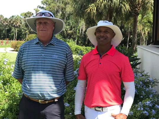 Paul Trittler, left, the former director of instruction at Lely Resort and Jesus Rivas of Colombia both birdied the first sudden-death playoff hole in the U.S. Senior Open sectional qualifier at Wilderness Country Club in Naples on Wednesday.
