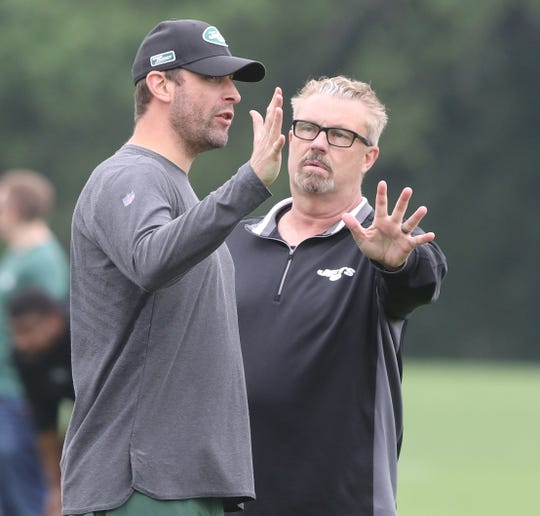 Head coach Adam Gase and defensive coordinator Greg Williams during Organized Training Activities conducted at the Atlantic Health NY Jets Training Facility in Florham Park, NJ on May 29, 2019.