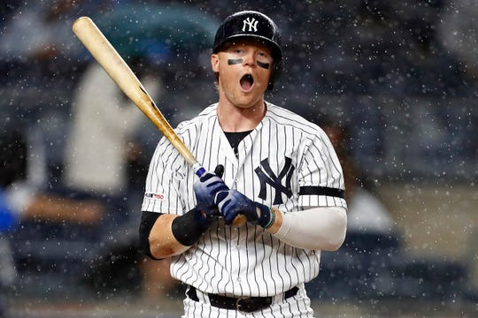 May 28, 2019; Bronx, NY, USA; New York Yankees left fielder Clint Frazier (77) reacts during an at bat against the San Diego Padres during the seventh inning at Yankee Stadium.