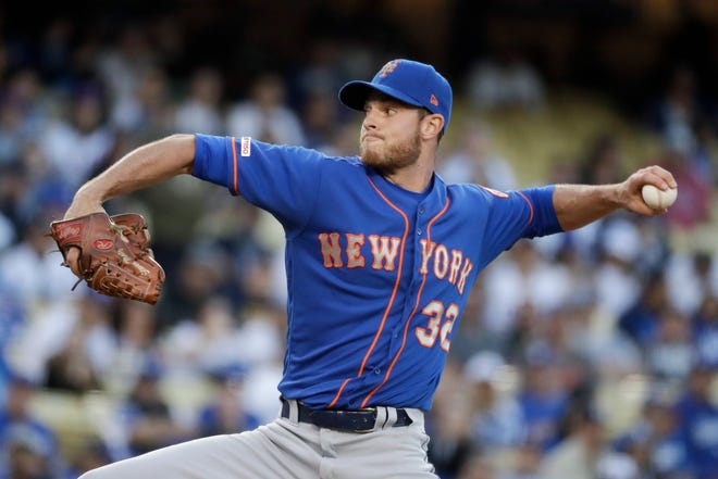 New York Mets starting pitcher Steven Matz throws against the Los Angeles Dodgers during the first inning of a game in Los Angeles, Tuesday, May 28, 2019.