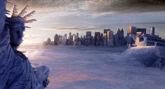 "New York floods, and freezes, in the 2004 climate change disaster film ""The Day After Tomorrow"""