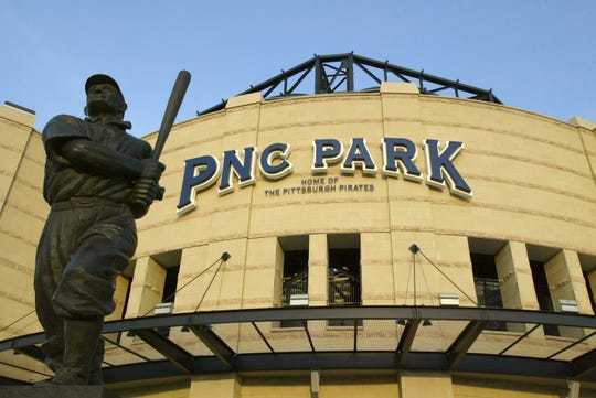 The J.P. Honus Wagner statue in front of the PNC Park in Pittsburgh, Pennsylvania.