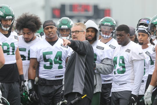 Defensive coordinator Gregg Williams talks to his defense during Organized Training Activities conducted at the Atlantic Health NY Jets Training Facility in Florham Park, NJ on May 29, 2019.