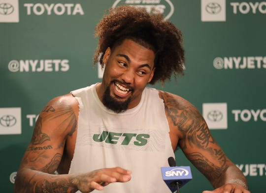 Leonard Williams during a post practice press conference following Organized Training Activities conducted at the Atlantic Health NY Jets Training Facility in Florham Park, NJ on May 29, 2019.