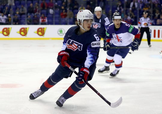 Jack Hughes of United States skates against Great Britain during the 2019 IIHF Ice Hockey World Championship Slovakia group A game between United States and Great Britain at Steel Arena on May 15, 2019 in Kosice, Slovakia.