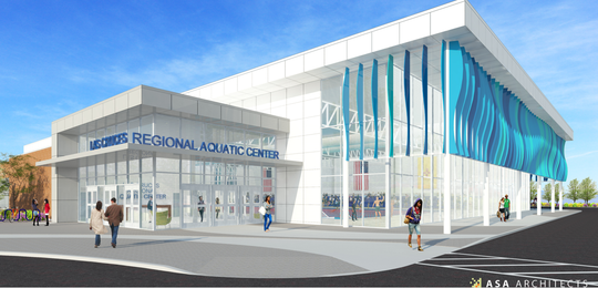 A view of the exterior of a proposed competition swimming pool was presented by ASA Architects on Tuesday, May 29, 2019 to the Las Cruces City Council. Construction on the pool is slated to begin in early 2020, according to the firm.