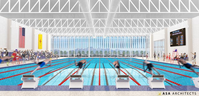 Kelly Heyer of ASA Architects presented this architectural rendering Tuesday, May 28, 2019 of an in-the-works competition swimming pool and building that will be built near the Las Cruces Regional Aquatic Center, 1401 E. Hadley Ave. A glass face on the east side of the building would allow a view of the Organ Mountains.
