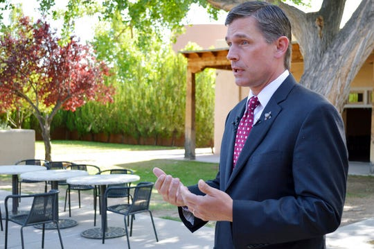 U.S. Sen. Martin Heinrich, D-Albuquerque, talks to reporters reporters at the National Hispanic Cultural Center in Albuquerque, N.M., on Wednesday, May 29, 2019.