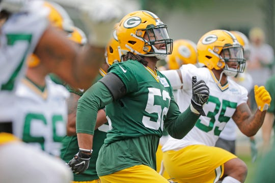 Green Bay Packers linebacker Rashan Gary (52) during practice at Clarke Hinkle Field on Wednesday, May 29, 2019 in Ashwaubenon, Wis.