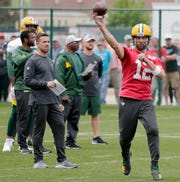 Green Bay Packers head coach Matt LaFleur watches quarterback Aaron Rodgers (12) during practice at Clarke Hinkle Field on Wednesday, May 29, 2019 in Ashwaubenon, Wis.