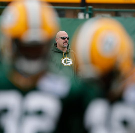 Green Bay Packers defensive coordinator Mike Pettine during practice at Clarke Hinkle Field on Wednesday, May 29, 2019 in Ashwaubenon, Wis.