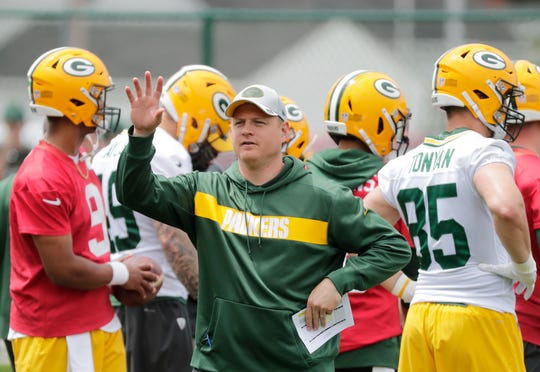 Green Bay Packers quarterbacks coach Luke Getsy during practice at Clarke Hinkle Field on Wednesday, May 29, 2019 in Ashwaubenon, Wis.