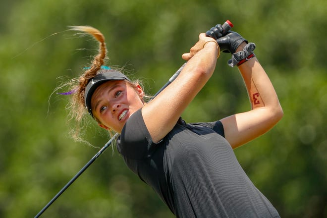 Paris Hilinski hits her tee shot on the second hole during a practice round at the 2019 U.S. Women's Open at Country Club of Charleston in Charleston, S.C.  Hilinksi, from La Quita, is playing in her first Open at the age of 15.