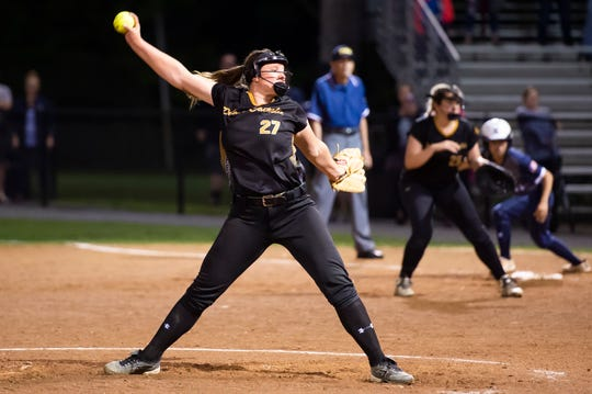 Delone Catholic's Maggie Rickrode pitches during the District 3 Class 3A championship game against Kutztown at Millersville University on Tuesday, May 28, 2019.