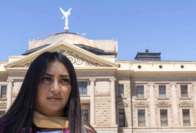 """Blanca Sierra-Reyes, a DACA recipient from Hidalgo, Mexico, speaks to media while """"Dreamers"""" and student supporters rally at the Arizona state Capitol. Protesters were asking legislators to support """"Dreamers"""" so they can be eligible for in-state tuition and merit-based scholarships."""